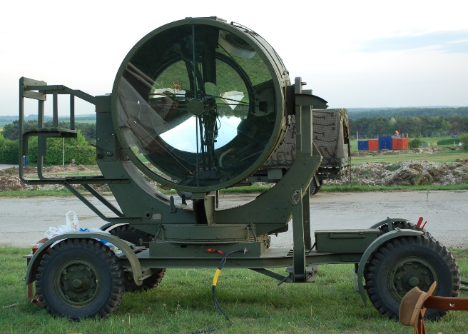 a restored British Army 150cm light operated by The Garrison WW2 RA re-enactment group
